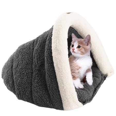Petacc Detachable Pet Sleeping Bag Ultra Soft Pet Sofa Cushion Warm Pet Sleeping Sack Fit Small Sized Dogs and Cats, Dark Grey
