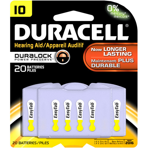 Duracell size 10 Hearing Aid Batteries, 20 ct
