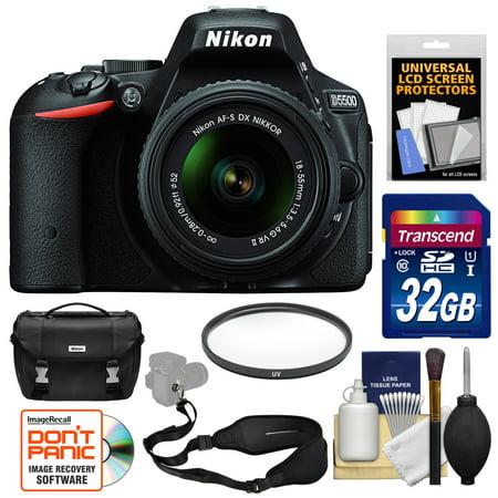 Nikon D5500 Wi-Fi Digital SLR Camera & 18-55mm VR DX II Lens (Black) - Factory Refurbished with 32GB Card + Case + Strap + Kit