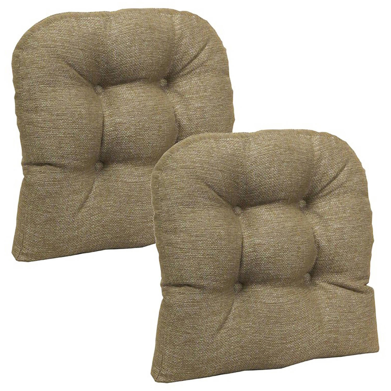 "Gripper Non-Slip 15"" x 15"" Omega Tufted Universal Chair Cushions, Set of 2"