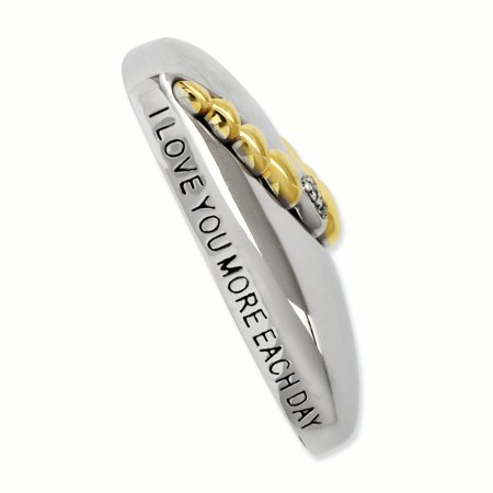Sterling Silver & Gold-plated CZ I Love You More Each Day 18in Necklace 18 Inch - image 2 de 3