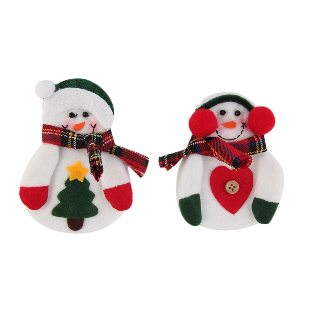 2pcs/set Christmas Santa Claus Kitchen Cutlery Suit Silveware Holders Porckets Knifes and Folks Bag Snowman Shaped Holiday Gifts