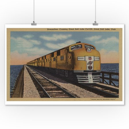 Train- Crossing Great Salt Lake, Ogden, Utah (9x12 Art Print, Wall Decor Travel