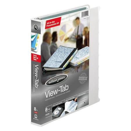 "Wilson Jones View-Tab Presentation Binder, 8 Tab, Round Ring, 1"", White"