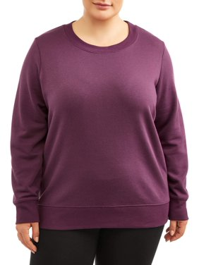 Terra and Sky Women's Plus Size Active Fleece Crew Neck Sweatshirt