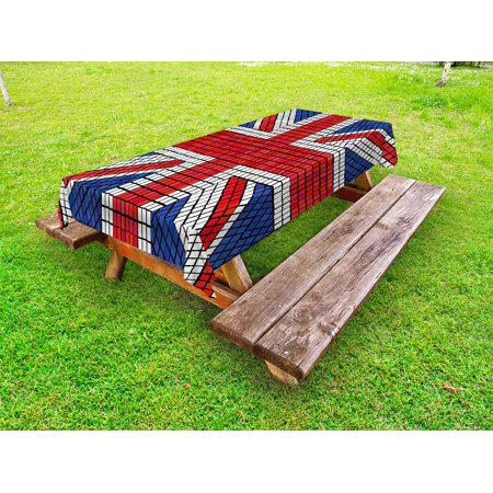 Union Jack Outdoor Tablecloth, Mosaic Tiles Inspired Design British Flag National Identity Culture, Decorative Washable Fabric Picnic Table Cloth, 58 X 84 Inches,Royal Blue Red White, by - Union Jack Table Cloths