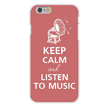 Apple iPhone 6 Custom Case White Plastic Snap On - Keep Calm and Listen to Music Record