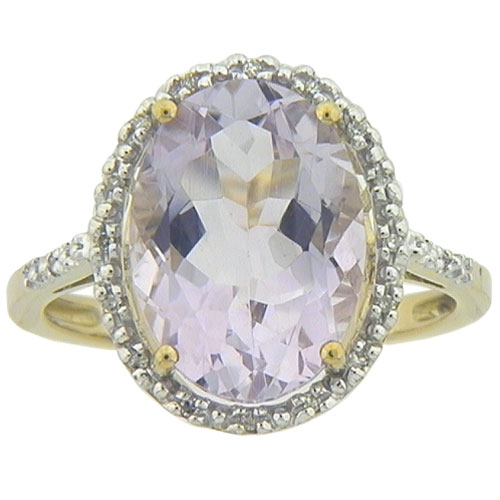 4.24 Carat Rose De France Oval Ring in Yellow Gold with with Diamond Accents