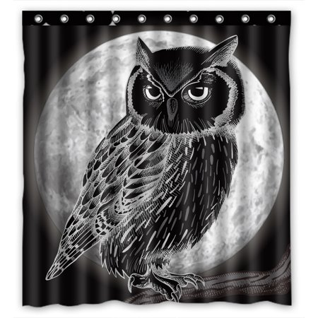 YKCG Mysterious Full Moon Night Christmas Owl Shower Curtain Waterproof Fabric Bathroom Shower Curtain 66x72 inches (Owl Shower)
