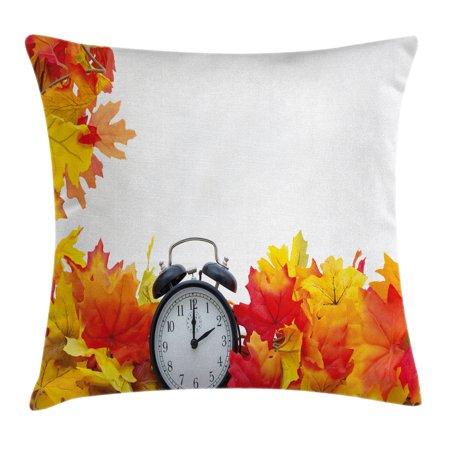 Clock Decor Throw Pillow Cushion Cover, Autumn Leaves and an Alarm Clock Fall Season Theme Romantic Digital Print, Decorative Square Accent Pillow Case, 18 X 18 Inches, White and Orange,
