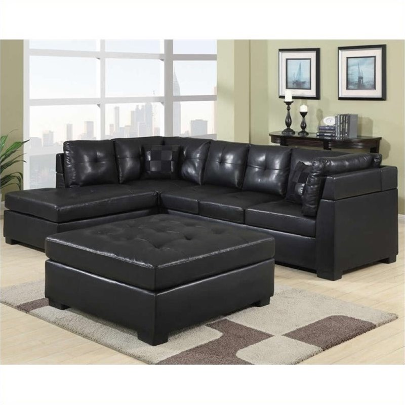 Bowery Hill Leather Left Facing Sectional Sofa in Black