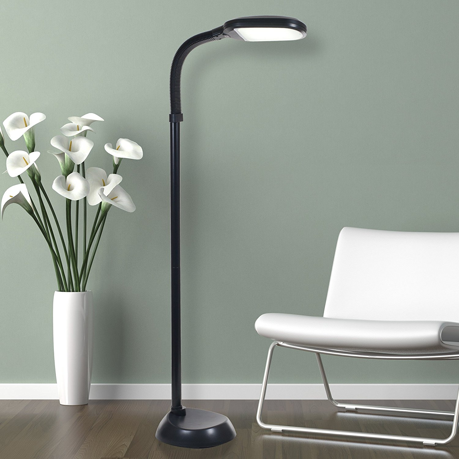 LED Natural Full Spectrum Sunlight Therapy Reading Floor Lamp with Dimmer  Switch by Lavish Home (Black)