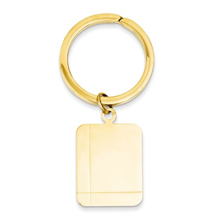14K Yellow Gold Rectangle High Polished Engravable Disc Key (High Key Gold)