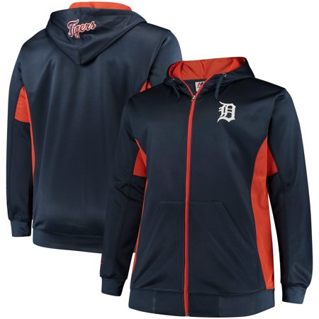 Detroit Tigers Majestic Big & Tall Full Zip Hoodie - Navy