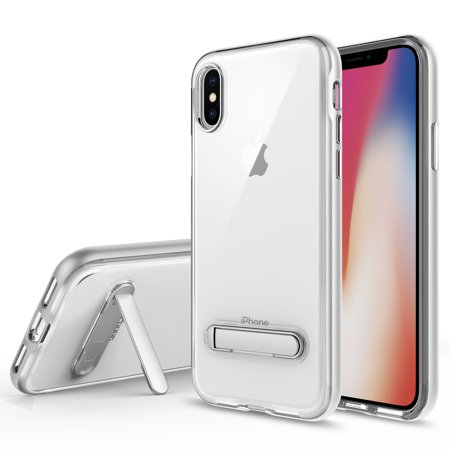 IPHONE X Case, Apple IPHONE X Case, Torryka Crystal Clear Hard Ultra Slim fit Anti Scratch Bumper with Magnetic Metal Kickstand Protective Case Cover for for IPHONE X (SILVER)