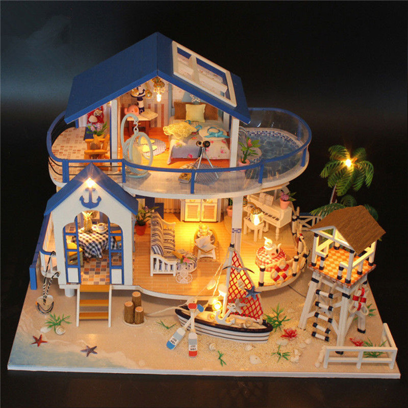 DIY LED Dollhouse Sea Miniature Villa With Furniture Wooden Model Kits Toys Kids Birthday Children's Day Gift