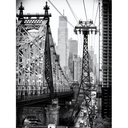 Roosevelt Island Tram and Ed Koch Queensboro Bridge (Queensbridge) Views, Manhattan, New York Urban Cityscape Black and White Photography Print Wall Art By Philippe Hugonnard