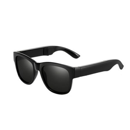 Smart Sunglasses Bluetooth Headphones Bone-Conduction Bluetooth Headset Glasses Anti-Blue Light Smart Touch for Outdoor Riding Traveling Driving (Black)