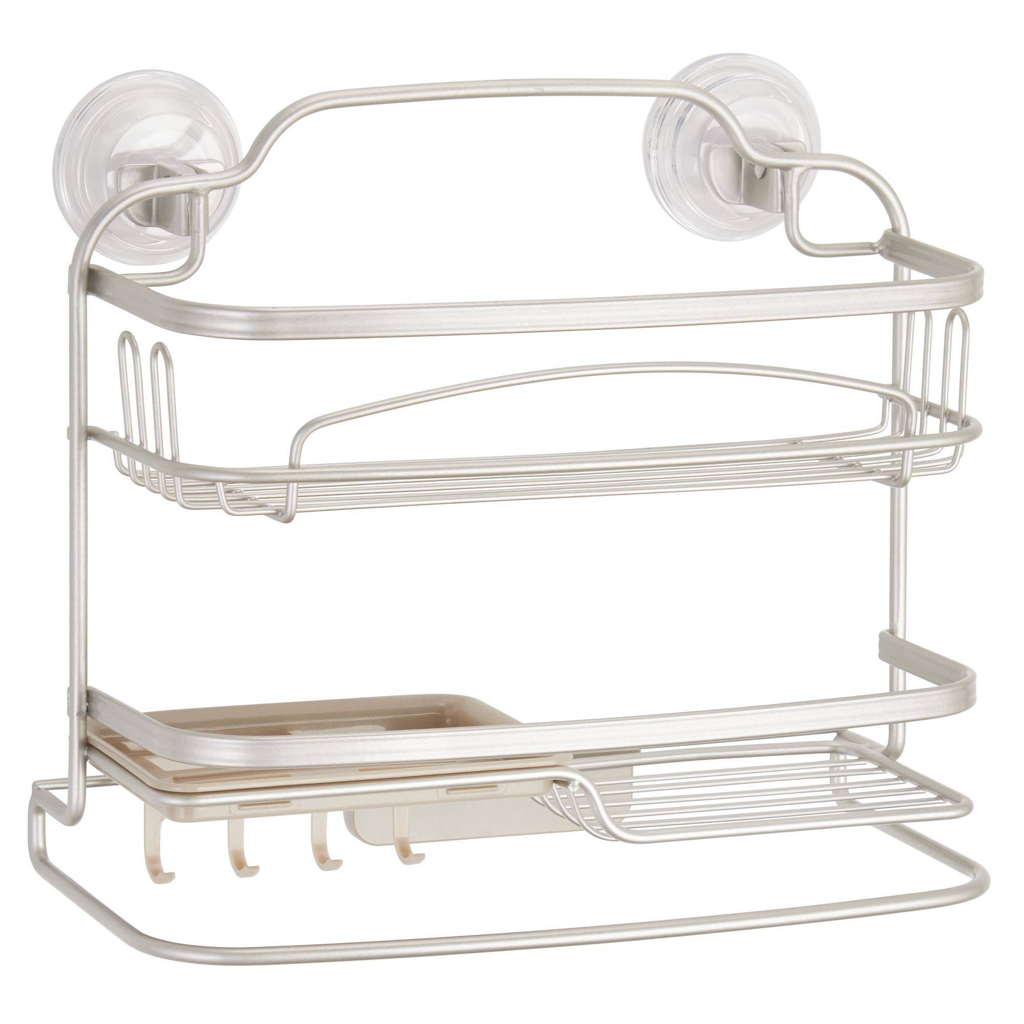 Better Homes & Gardens 2 Tier Suction Shelf, Matte Satin