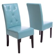 Ty Teal Bonded Leather Dining Chair (Set of 2)