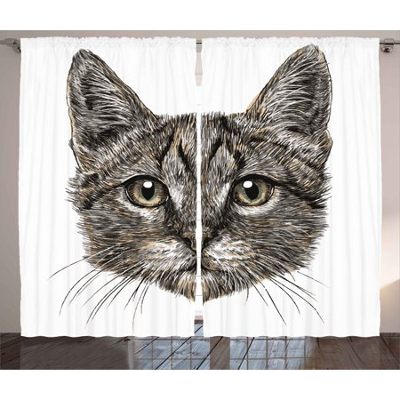 Animal Curtains 2 Panels Set, Cute Little Chubby Cat Head Looking Innocently with Long Whiskers Sketchy Like Artwork, Window Drapes for Living Room Bedroom, 108W X 96L Inches, Grey, by Ambesonne - Cute Chubby Teen
