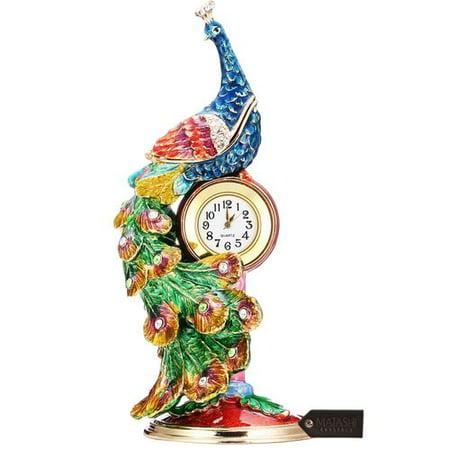 Matashi Crystal Peacock Decorative Box And Table Clock