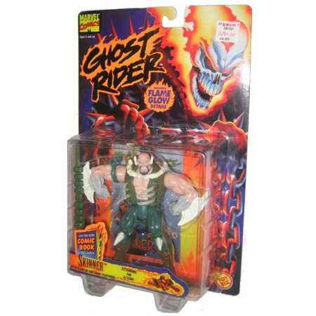 Ghost Rider Skinner ToyBiz Action Figure w/ Flame Glow & Comic Book
