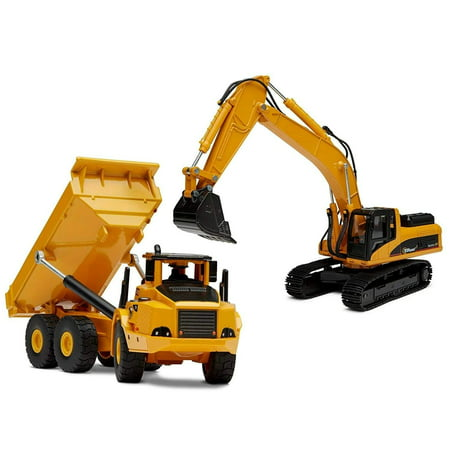 Top Race Diecast Metal Construction Trucks, Heavy Metal Excavator and Dump Truck, Free Wheeler Die Cast Construction Toys, Set of 2