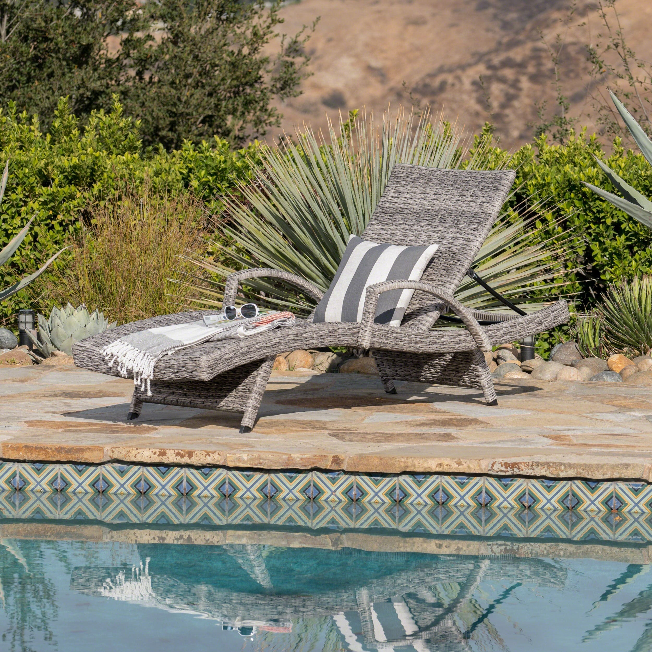 Christopher Knight Home Crete Outdoor Armed Aluminum Wicker Chaise Lounge by