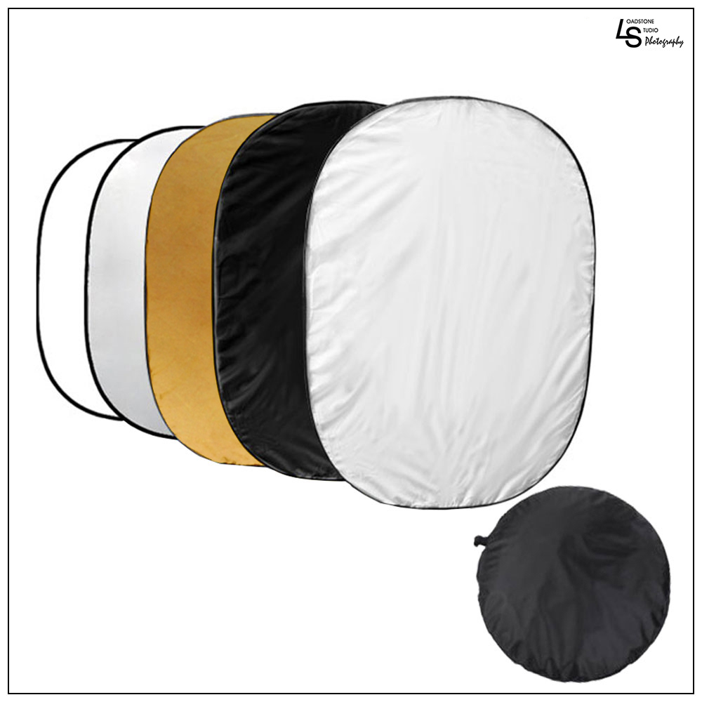 "60""x80"" 5-in-1 Collapsible Light Reflector Multi-Disc Oval Panel with Carrying Bag for Photography Lighting by Loadstone Studio WMLS1124"