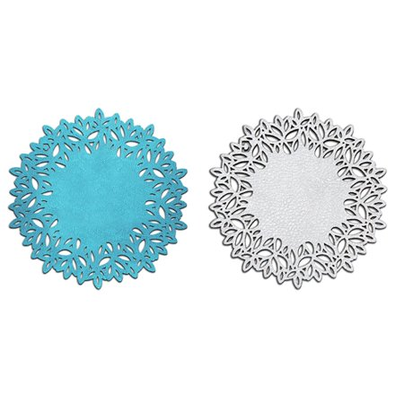 Coasters Set of 6 - DOUBLE SIDED Turquoise & Silver - in Faux Leather, Elegant and Versatil, Easy