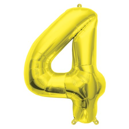 """Northstar Number 4 Four Solid Air-Fill Mini Shape 16"""" Foil Balloon, Gold"""