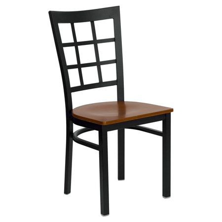 Flash Furniture HERCULES Series Black Window Back Metal Restaurant Chair, Wood Seat, Multiple Colors