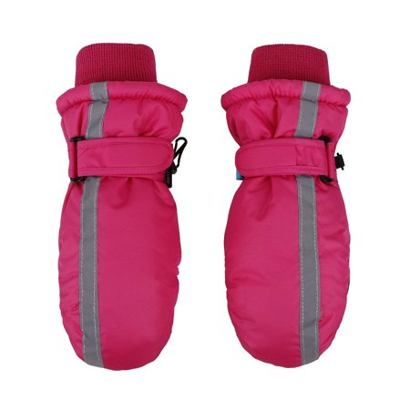 Boy's Winter Thinsulate Lined Waterproof Ski Mittens,Toddler,Fuchsia - Pink Skeleton Gloves