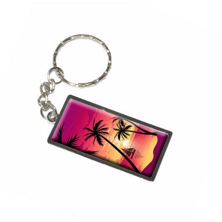 Beach Sunset - Palm Tree Sail Boat Vacation - Pink Purple Orange (Pink Sailboat)