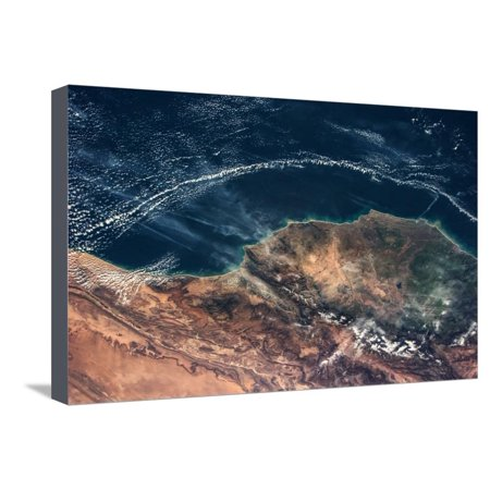 Satellite view of Moroccan Coastline along Atlantic Ocean Stretched Canvas Print Wall Art ()