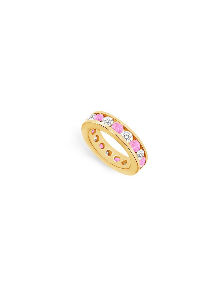 Nine Carat Created Pink Sapphire Created and Cubic Zirconia Eternity Ring in 18K Yellow Gold Vermeil Channel by Love Bright
