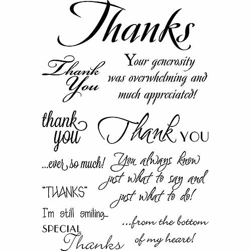 "My Sentiments Exactly Clear Stamps, 4"" x 6"" Sheet, Thank You Innies and Outies"
