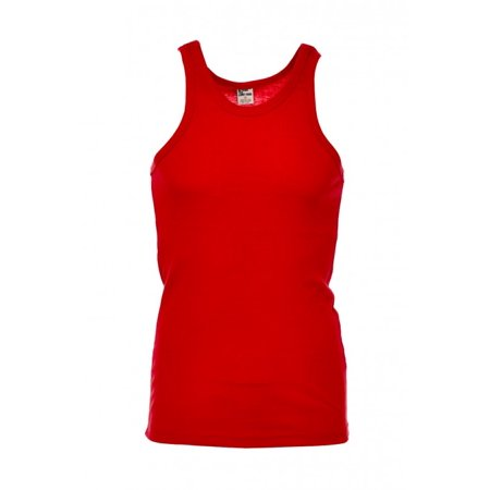 Mens Premium Cotton A-Shirt Muscle Ribbed Tank Top T-Shirt Gym 388T-S-Red - Fake Muscle Shirt