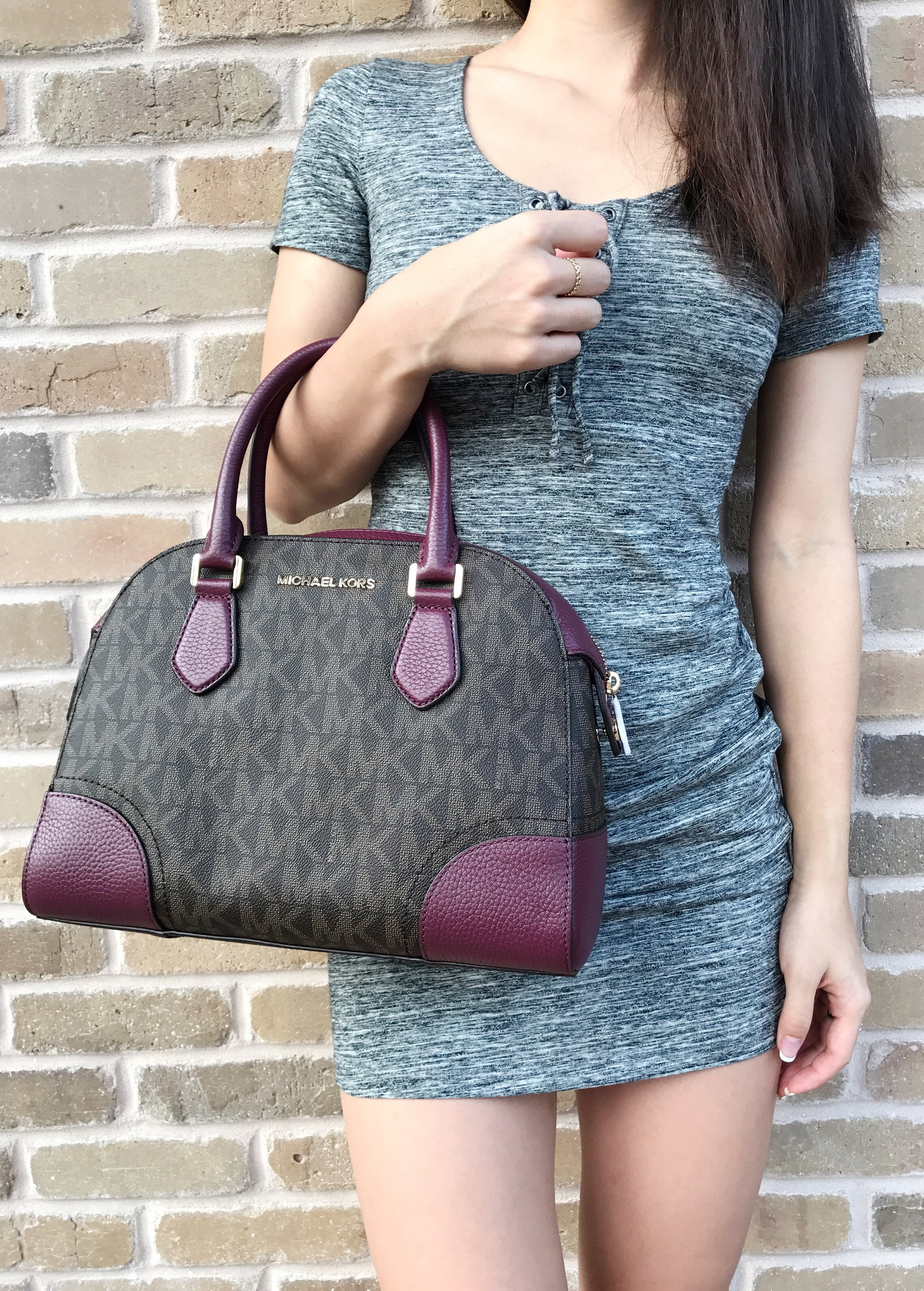 683e7f6f264a85 Michael Kors - Michael Kors Hattie MK Signature Bowling Satchel Bag Brown  Plum Crossbody - Walmart.com