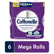 Cottonelle Ultra ComfortCare Soft Toilet Paper, 6 Mega Rolls, Bath Tissue