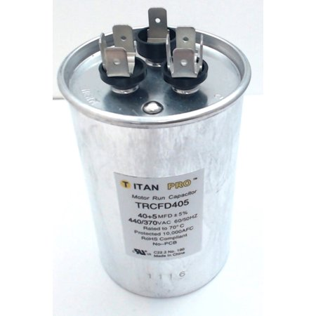 Packard Titan Pro Run Capacitor, Round, 40+5 Mfd, 440-370V, TRCFD405