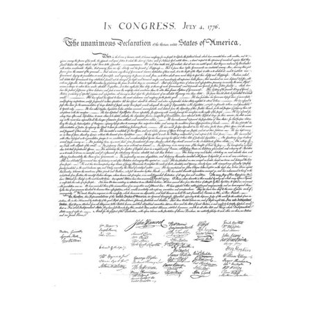 Declaration of Independence Authentic Reproduction White Art Poster Print Print Wall Art