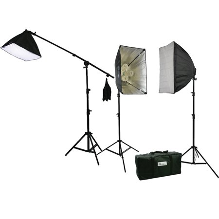 ePhoto 3200 Watt Continuous Photography Video Studio 3 Softbox Boom Stand Digital video Hair Lighting Kit H604SB2