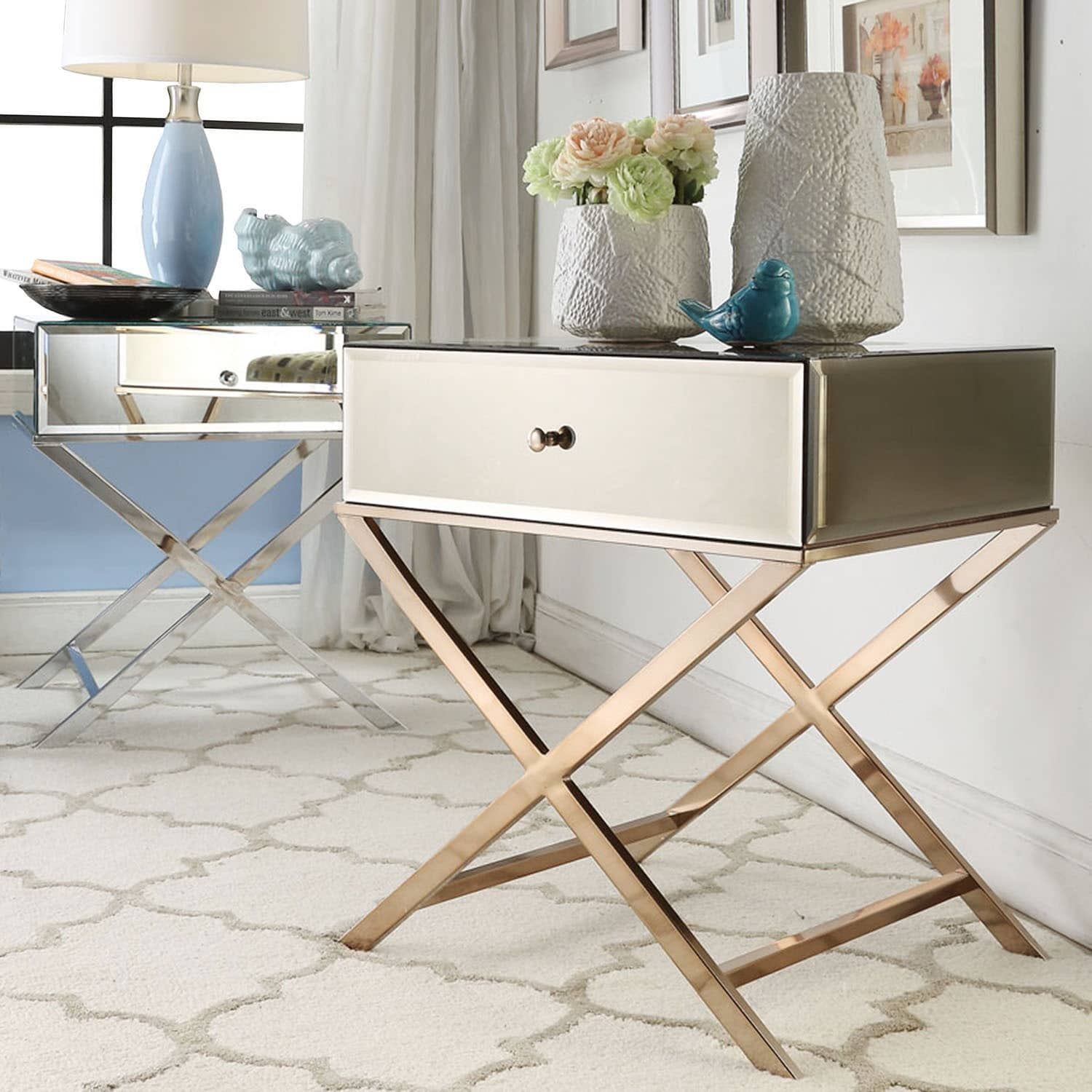 INSPIRE Q Camille X Base Mirrored Accent Campaign Table