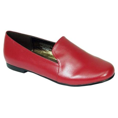 63263838175 Footwear International Corporation - Fic Peerage Charlie Women s Extra Wide  Width Leather Flats Red 8 Extra Wide - Walmart.com