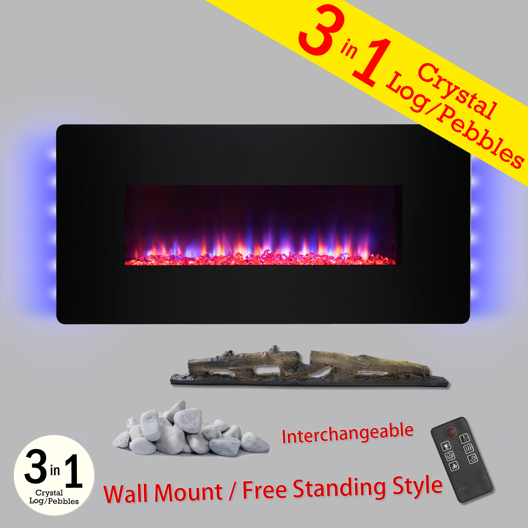 """AKDY FP0065 3-in-1 36"""" Wall Mount & Freestanding Convertible 22 Level Adjustable Electric Fireplace Stove"""