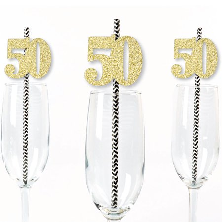 Gold Glitter 50 Party Straws - No-Mess Real Gold Glitter Cut-Out Numbers & Decorative 50th Birthday Paper Straws -24 Ct