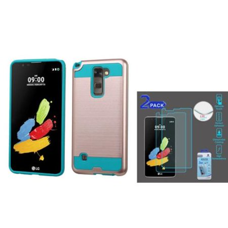 Insten Hard Dual Layer Case For LG G Stylo 2 / Stylus 2 - Rose Gold/Teal (with 2-Pack Tempered Glass LCD Protector)
