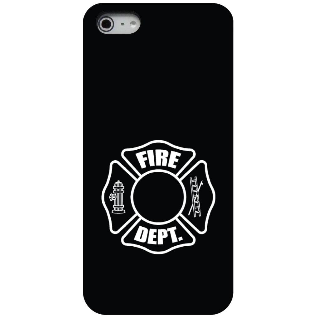 CUSTOM Black Hard Plastic Snap-On Case for Apple iPhone 5 / 5S / SE - White Fire Department